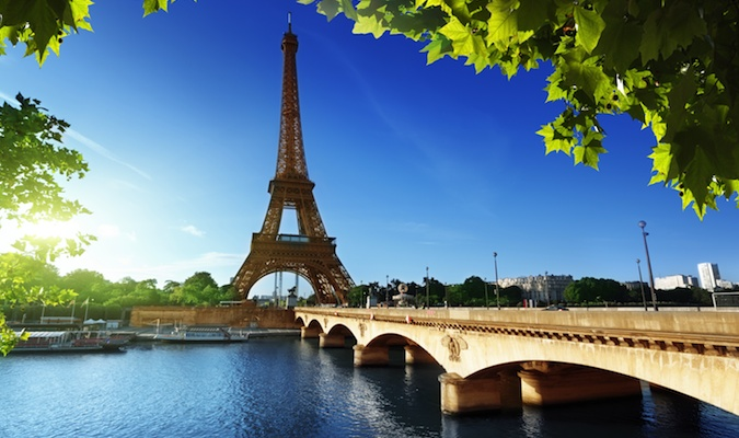 eiffel tower on a lovely summer day with the river