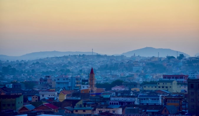 A sunset over the sprawling city of Antananarivo, Madagascar