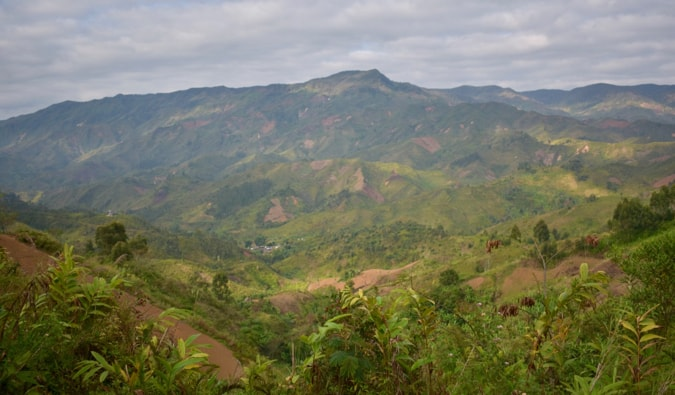 A lush, sweeping valley with rolling hills in Madagascar