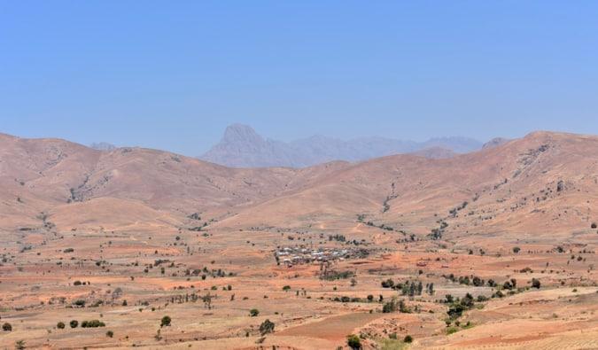 An dry, arid valley in Madagascar