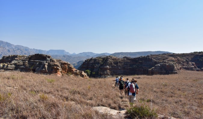 Hiking in the brown fields of Madagascar