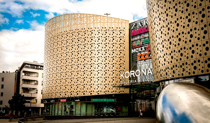 the facade of an international shopping mall abroad