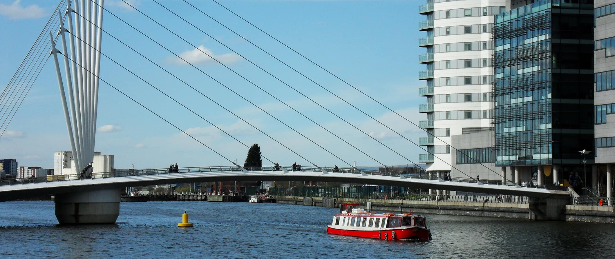Manchester Bridge view and boat
