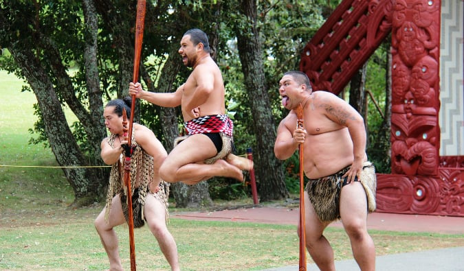 Maori warriors doing a performance in New Zealand