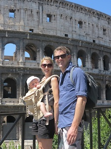 family traveling to rome together with their baby