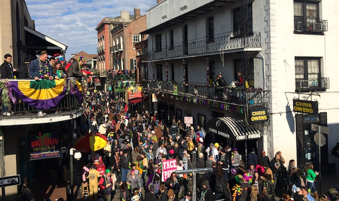 Overlooking Bourbon Street during Mardi Gras