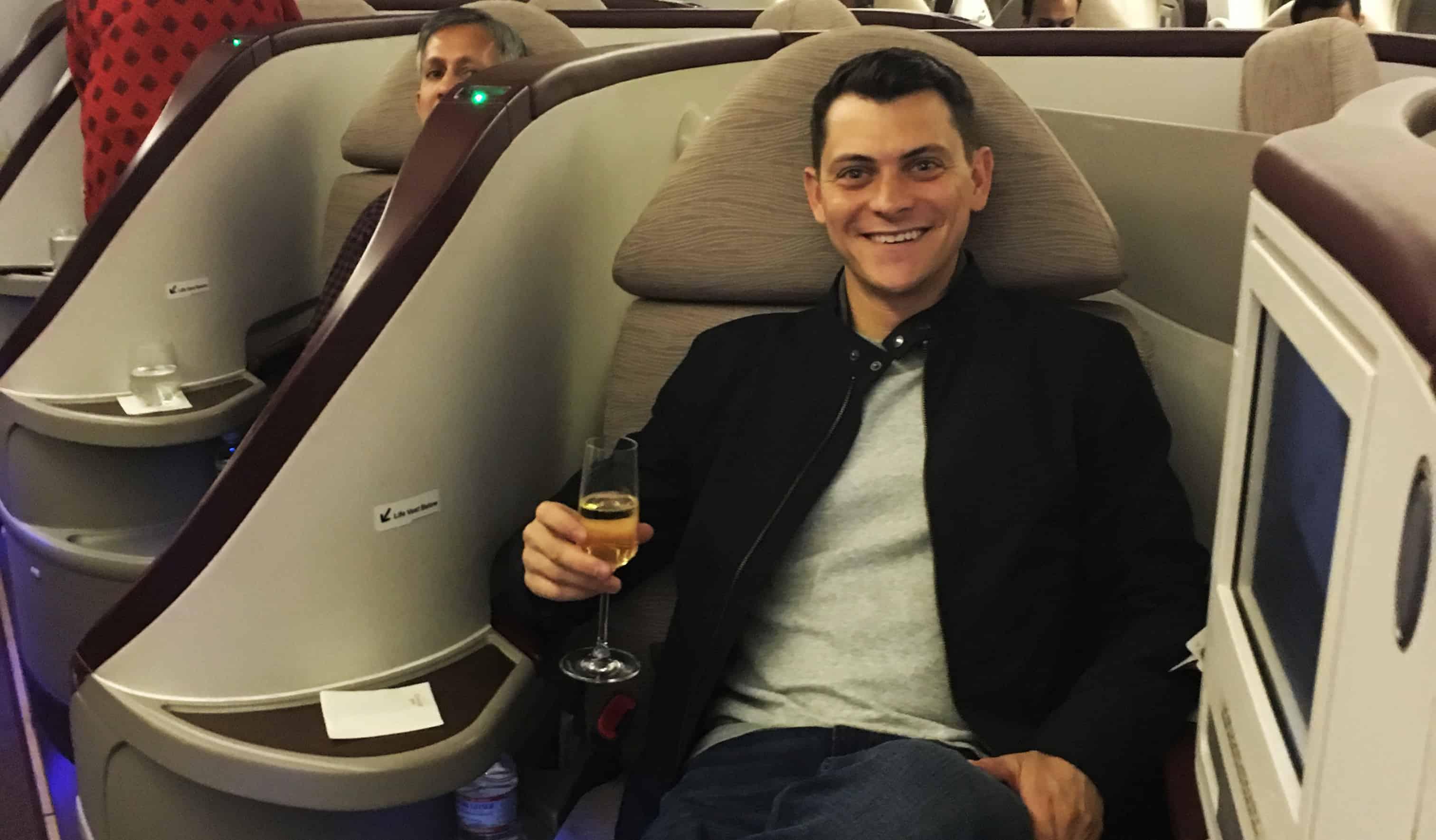 Matt flying business class