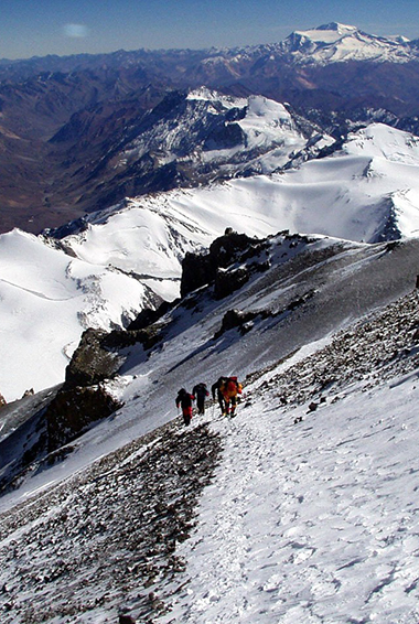 people hiking in the mountains of Aconcagua