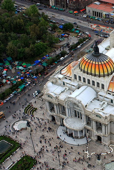 aerial view over Mexico City and its cathedral