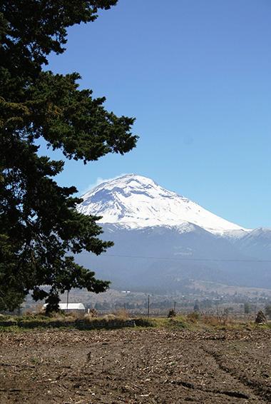 snow-capped Popocatepeti volcano in Mexico