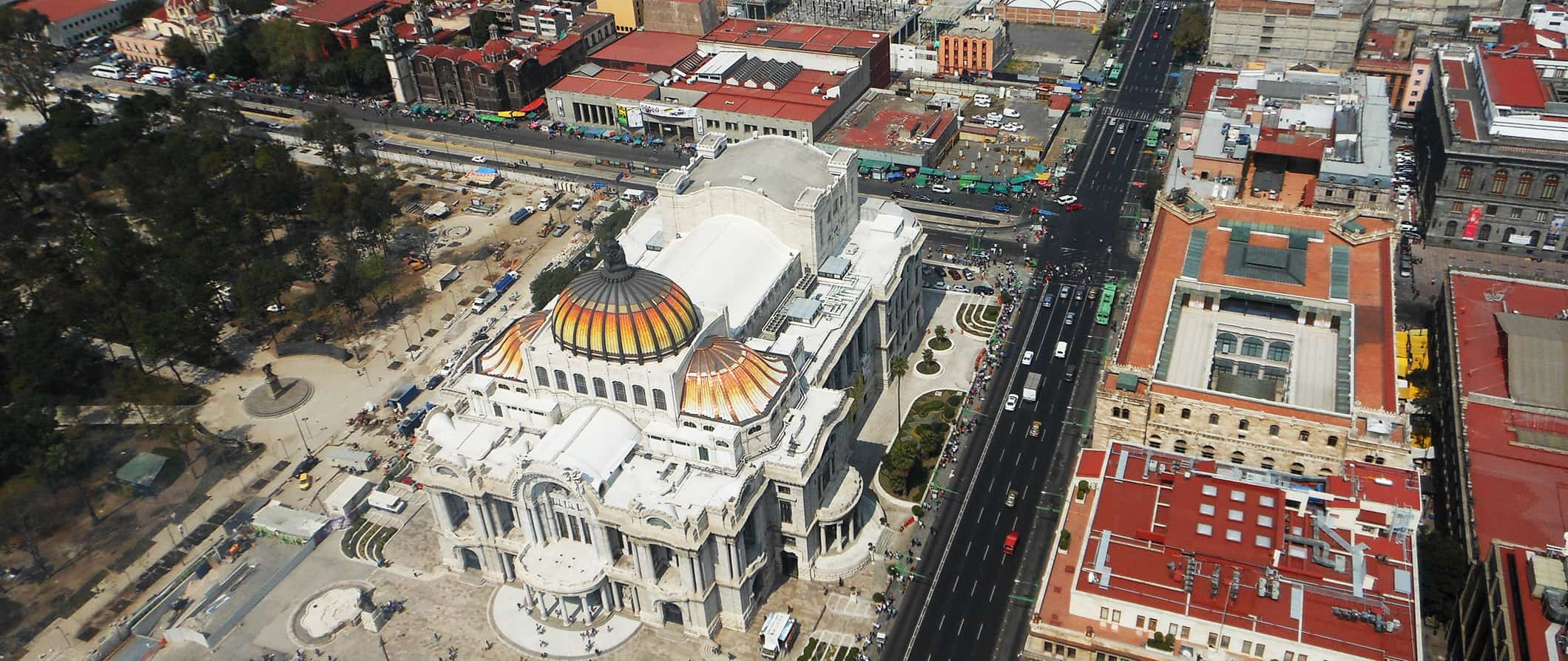 a view of Mexico City from the sky