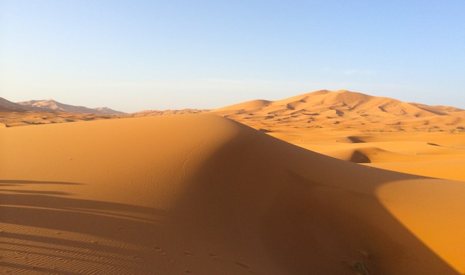 Red sand dunes in the Moroccan desert