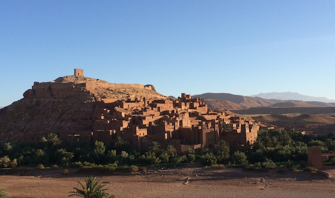 Visiting kasbah of Aït Benhaddou, the famous backdrop of many films outside of Fez, Morocco