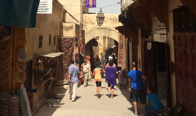 Walking through the medina in Moroccan city