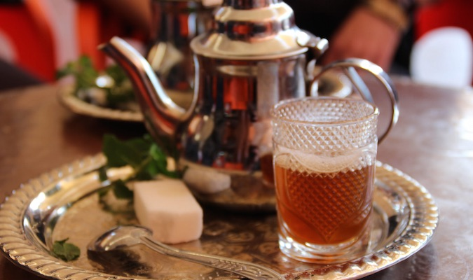 Traditional afternoon Moroccan tea set ready