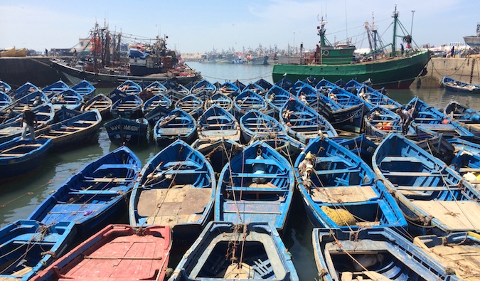 the blue fishing boats of essouaria in Morocco
