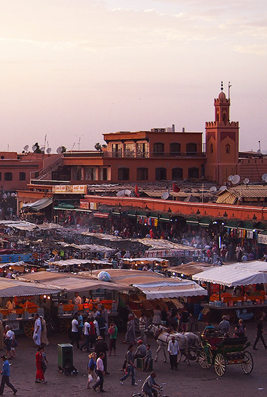 aerial view over the medina in Morocco