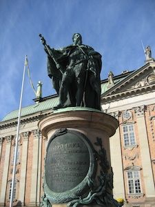 Regal statue in the center f the square in Stockholm, Sweden