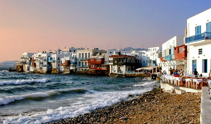 The building on the water on the expensive Greek island of Mykonos