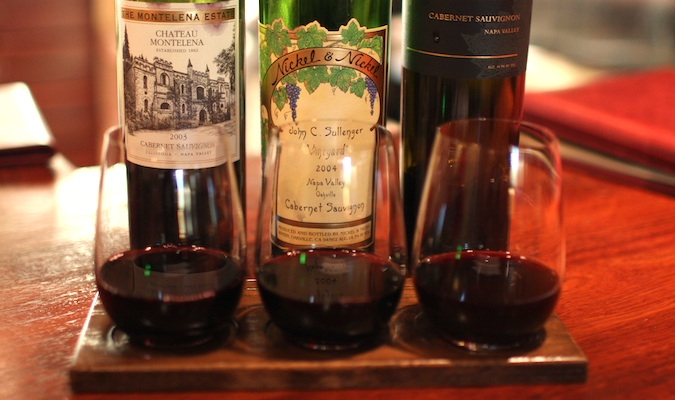 a selection of wines from Napa valley