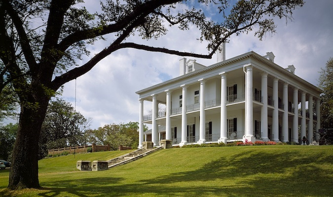 Huge white colored estate in Natchez Mississippi, US