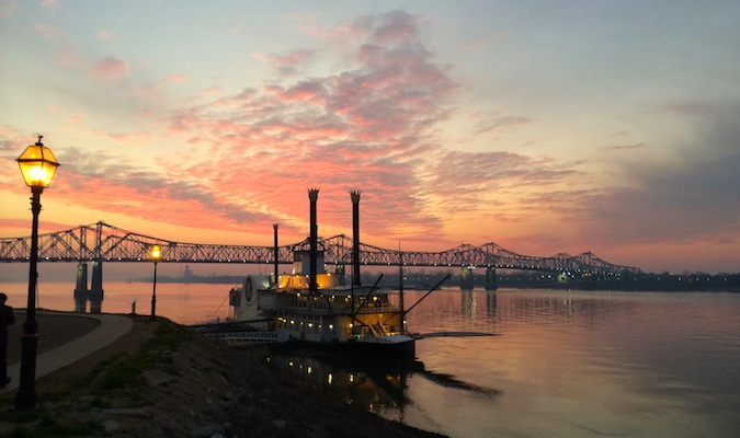 Bridge in Natchez at sunset with pink sky