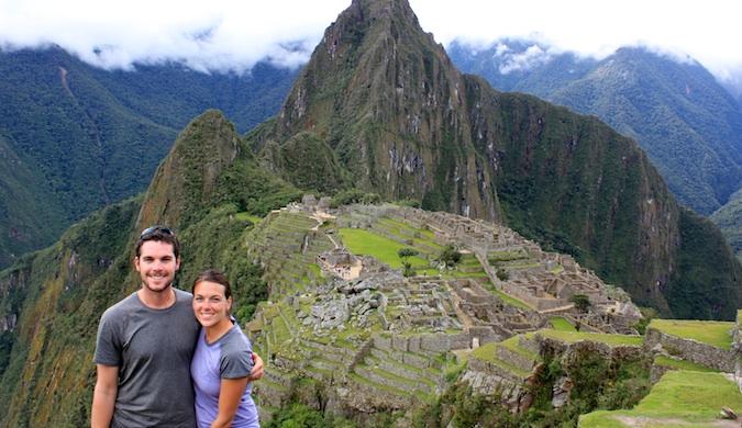 The Naumans,a traveling couple, at Macchu Pichu in Peru