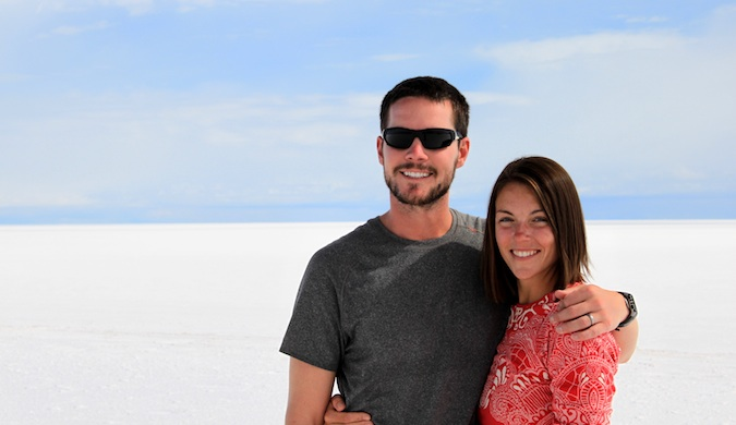 The Naumans, a traveling couple, together at the salt flats in South America