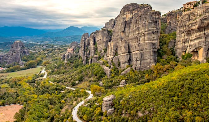 Road through Meteora Greece by Laurence Norah