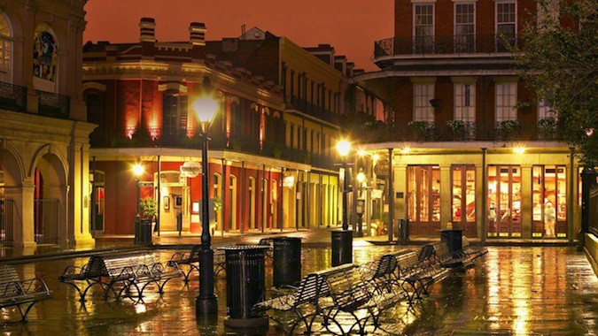 New Orleans french quarter lit up at night