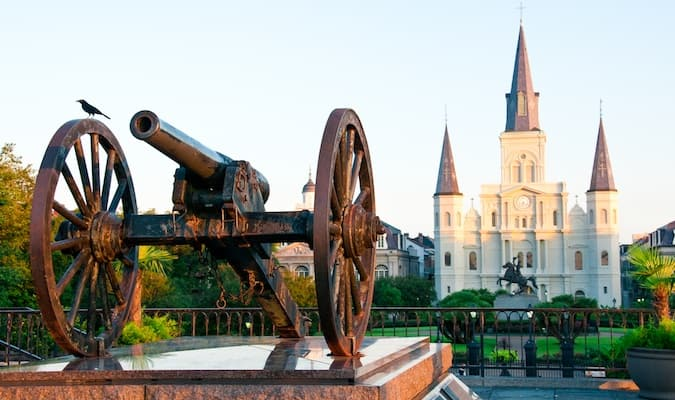 St. Louis Cathedral and a cannon in the famous French Quarter