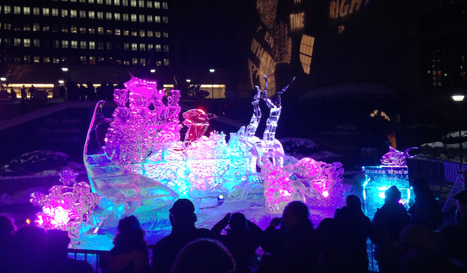 An ice sculpture for Boston's First Night