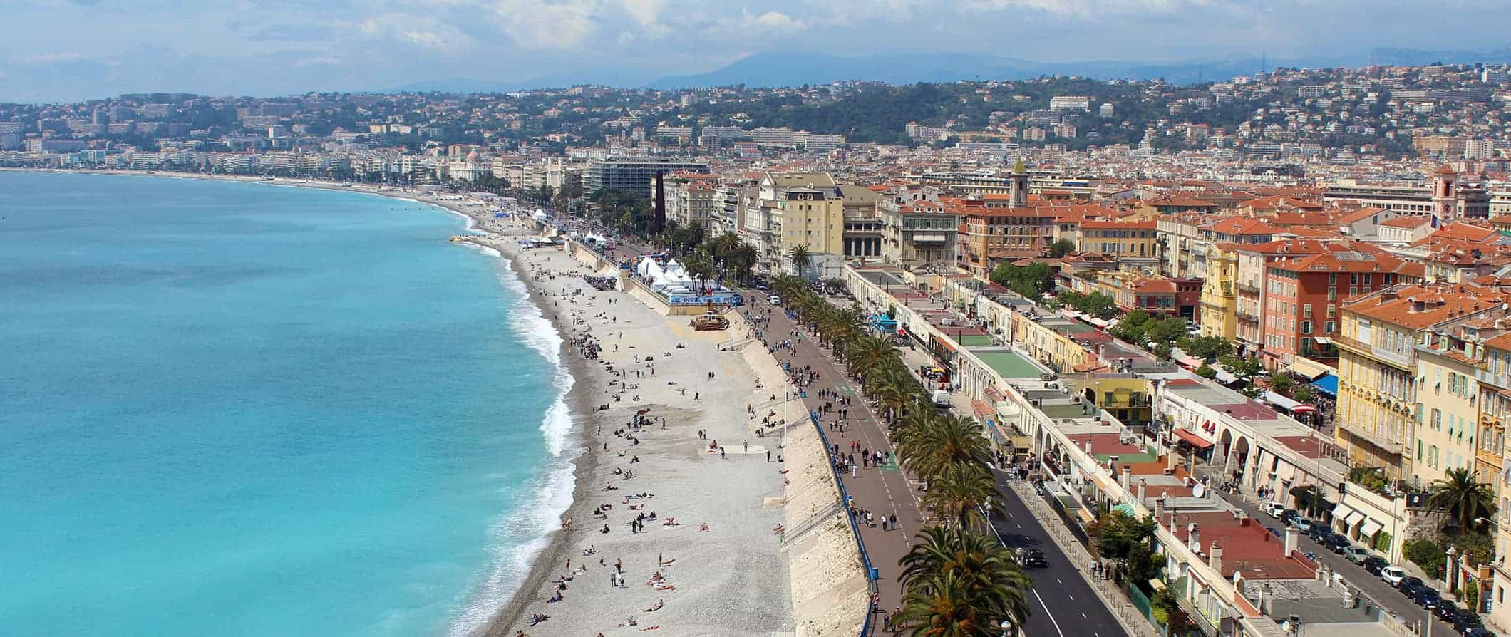 view over Nice beach and the promenade