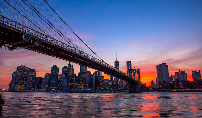 The Brooklyn Bridge and Manhattan skyline at sunset, photo by Anthony Quintano (flickr: @quintanomedia)