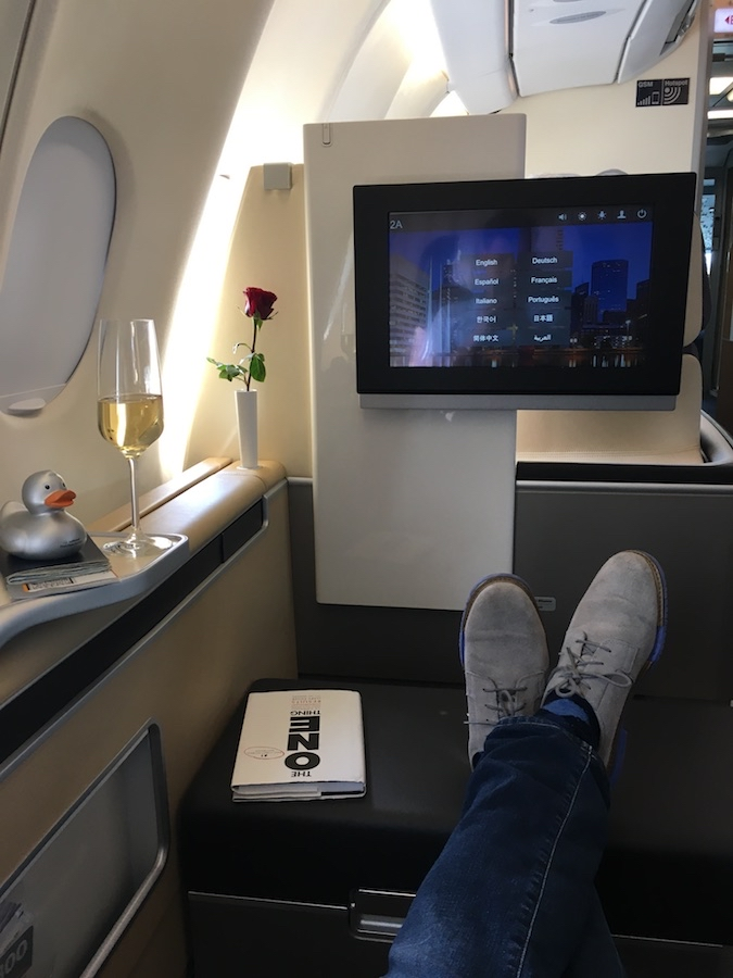 A seat in Lufthansa first class