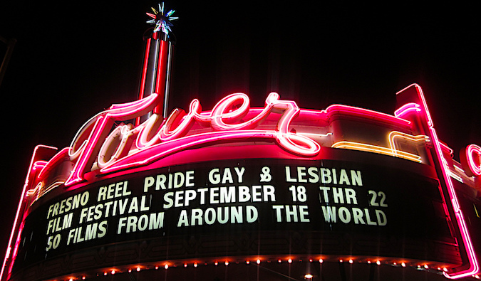 sign at a lgbt film festival, photo by David Prasad (flickr: @niiicedave)
