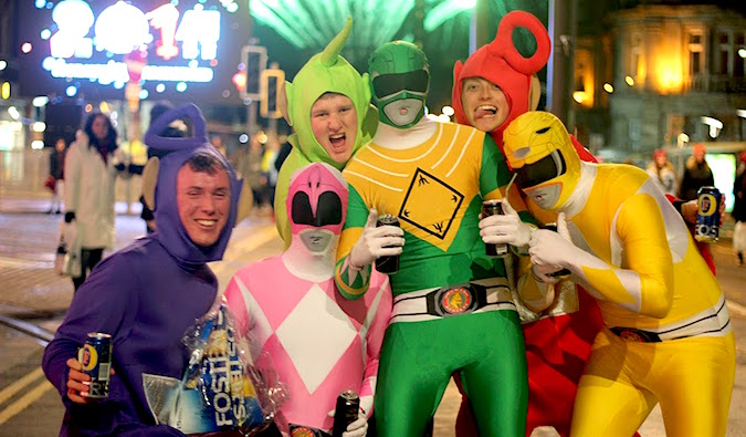 A group of people all dressed up in silly costumes