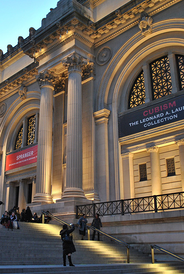 The exterior of the Met museum in New York, USA