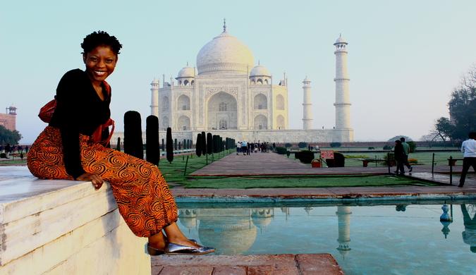 black female traveler in India sightseeing