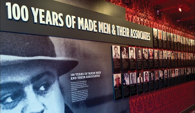 A sign in the Las Vegas Mob Museum saying 100 Years of Made Men and their Associates
