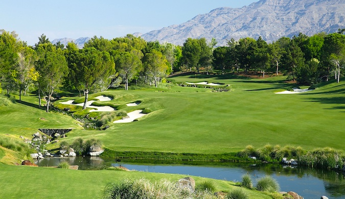 Shadow Creek Golf Course's rolling hills and lush greenery in Vegas