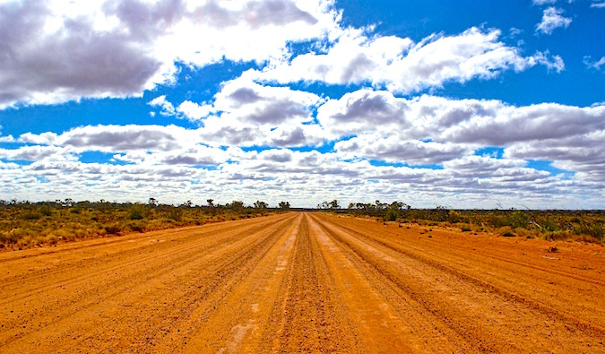 An empty, dusty Australian outback road