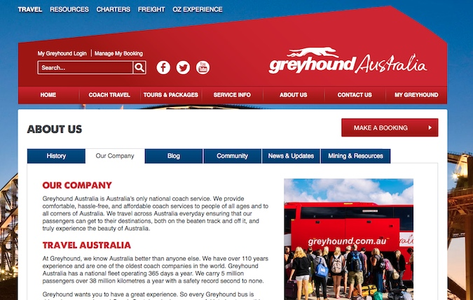 greyhound bus in australia