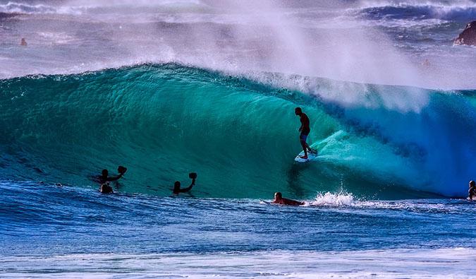 surfing in noosa, australia