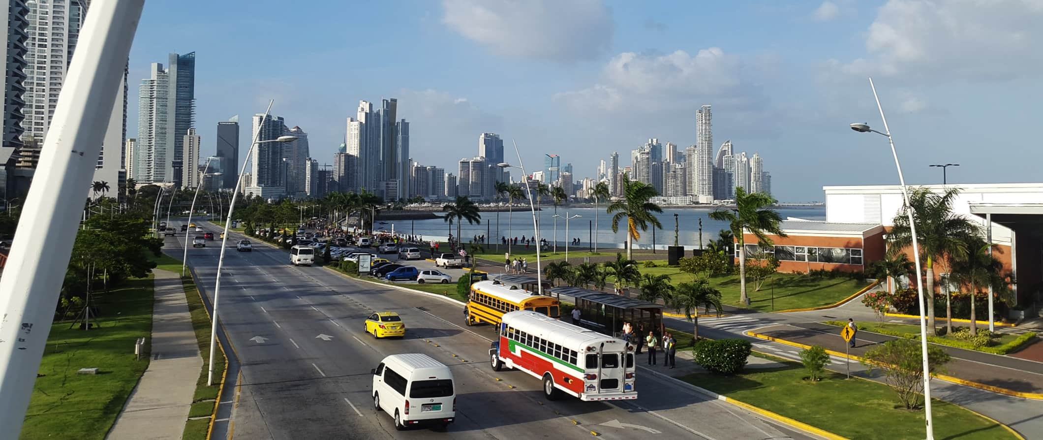 traffic and city skyline views in Panama City