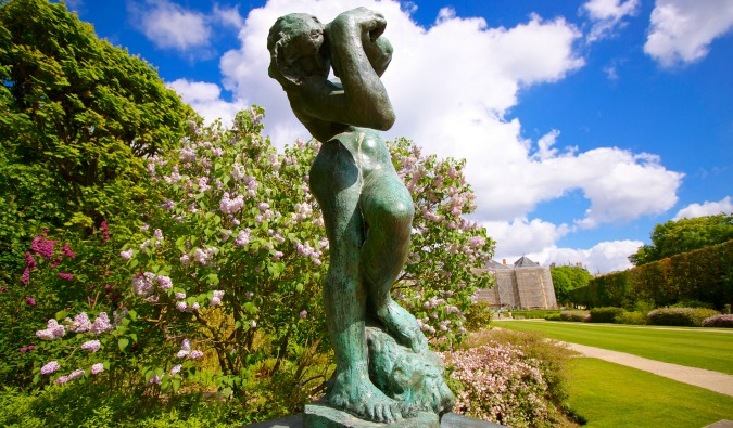 The sculpture of The Thinker outside of the Musee Rodin in France