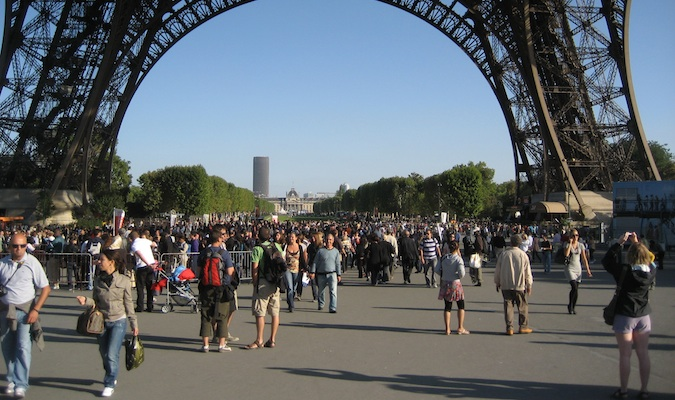 outside the Eiffel tower in paris