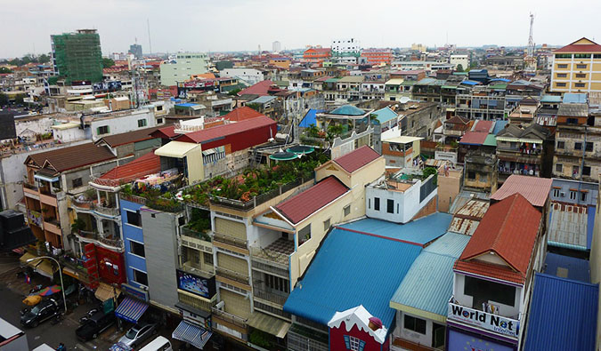 The many buildings and crowded houses of Phnom Penh in Cambodia