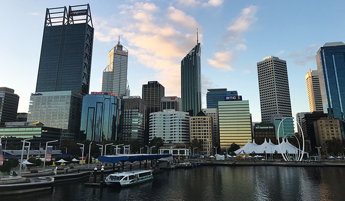Skyline view of Downtown Perth at dusk