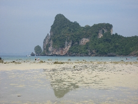 The closest beach to the town during the day